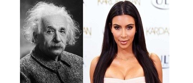 Albert Einstein and on the right you have Kim Kardashian