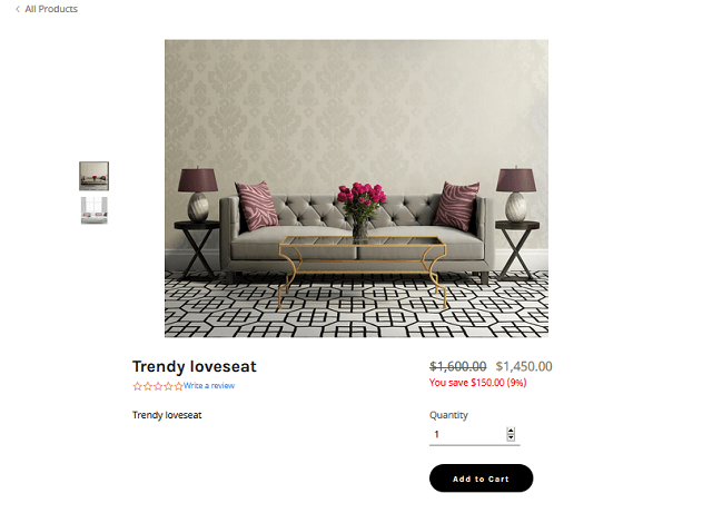 sofa product page for holiday shopping tips