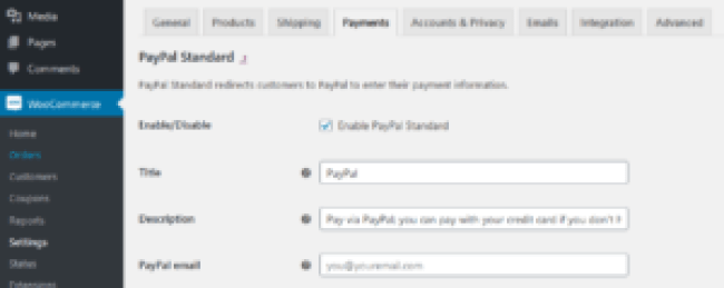 Setting up PayPal Standard on WooCommerce