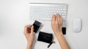 Visa card with keyboard and mouse