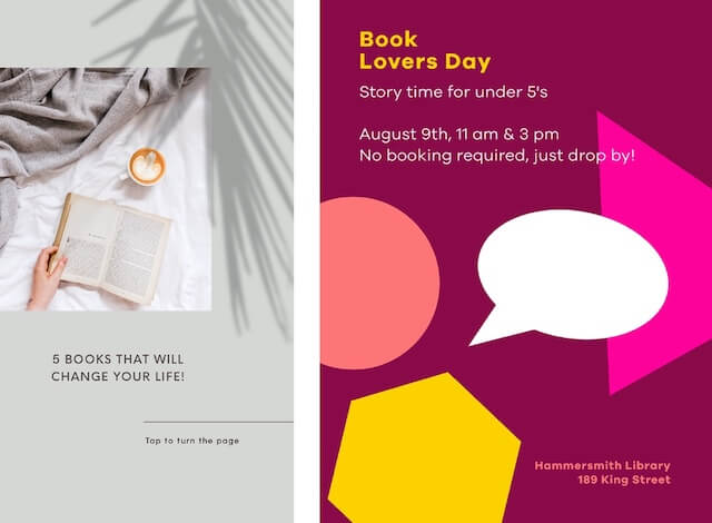 GoDaddy Studio templates for Book lovers day