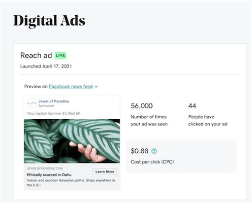 Screenshot of websites + marketing selecting ad reach