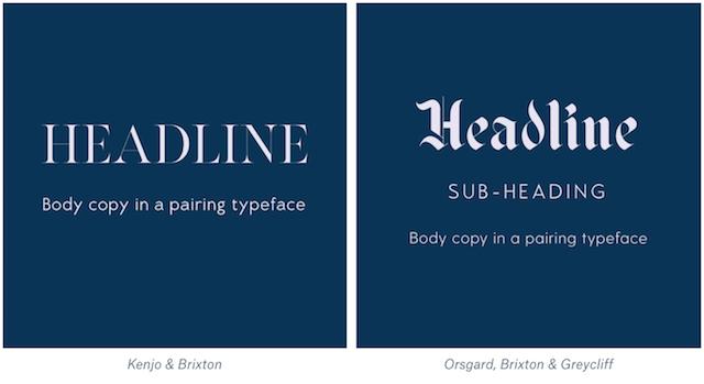 Luxury font pairings example