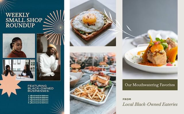 GoDaddy Studio template small shop roundup of local black-owned eateries