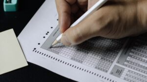 person taking a test
