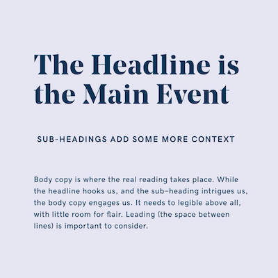 Hierarchy of headline, subheads, and body copy