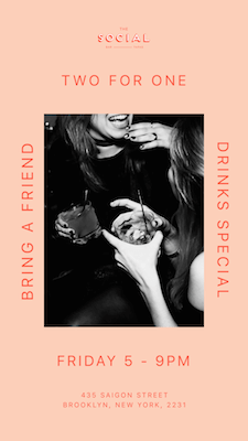 Two for one drink special poster created in GoDaddy Studio