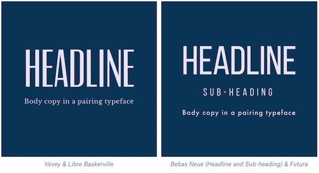 Modern font pairings example