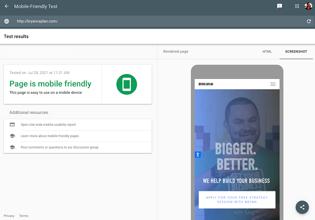 Results from mobile-friendly test shows that the test site is mobile friendly