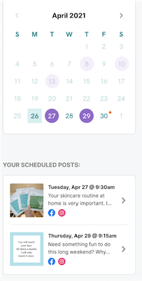 Look at scheduled posts in marketing planner