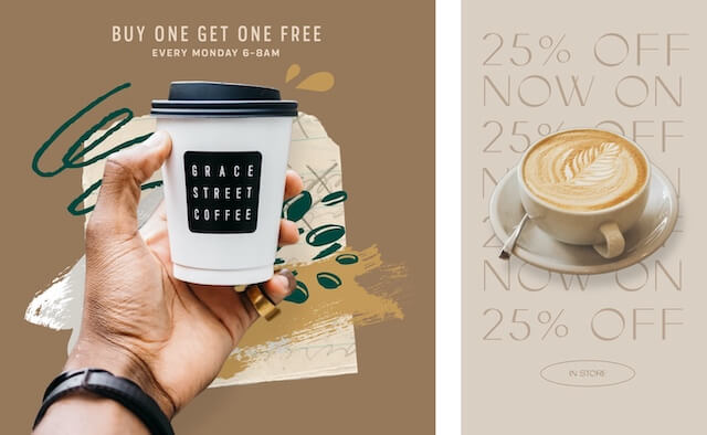 Coffee ads with promotions