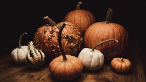 Pumpkins on wood table