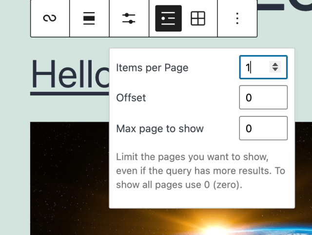 query loop block toolbar showing customizing the list view within, controlling the number of posts per query