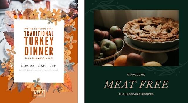 Thanksgiving ads promoting turkey dinner