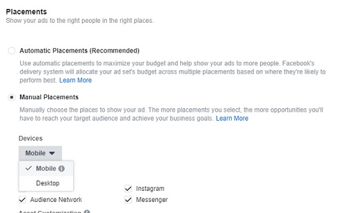 Facebook Ad Placements Screen