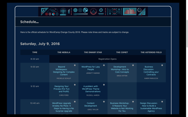 WordCamp Orange County 2016 schedule