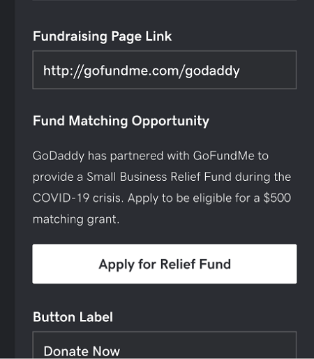 Fundraising Link Screenshot