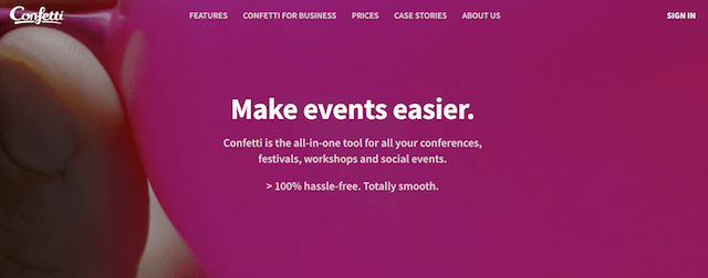 Domain Extensions Confetti Events Website