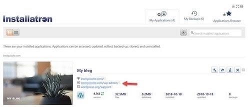 Installatron WordPress Cpanel Content
