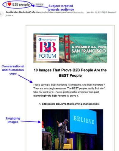 Nurture Email Subscribers MarketingProfs Example