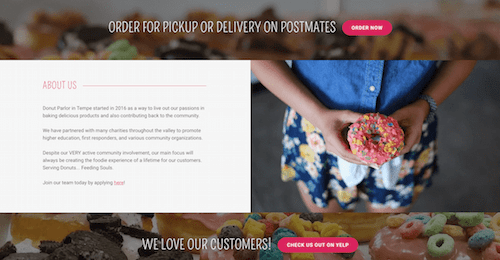 Small Business Website Donut Parlor Ecommerce