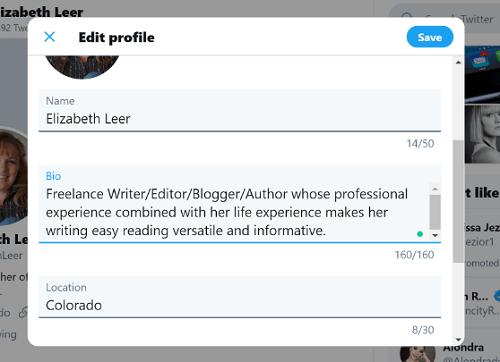 Updated Twitter Bio Example