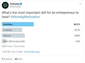 Twitter GoDaddy Polls Example