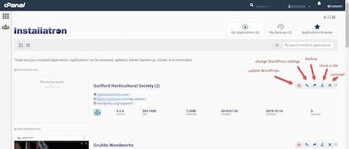 WordPress Cpanel Installatron Settings