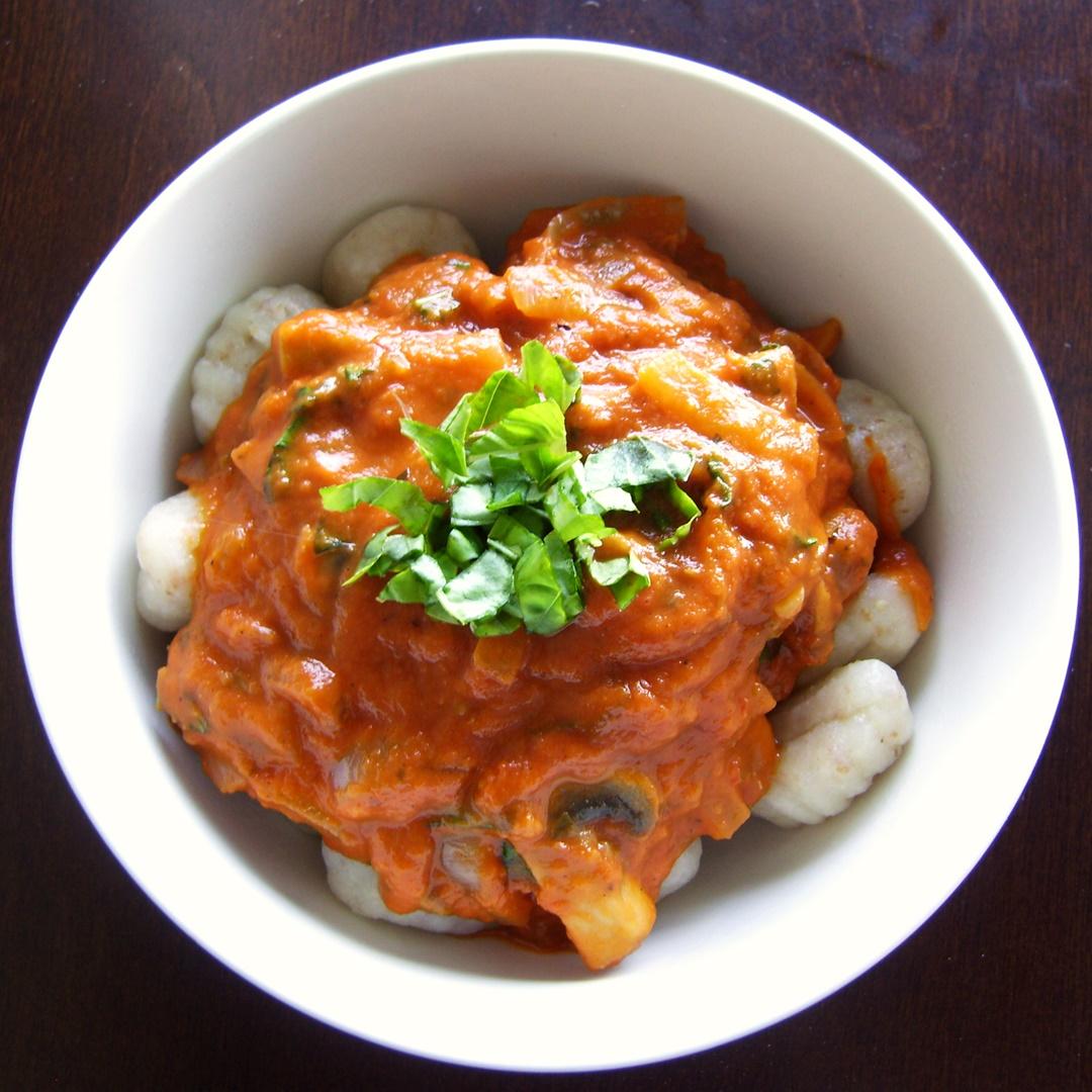 Gnocchi with Dairy Free Tomato Basil Cream Sauce