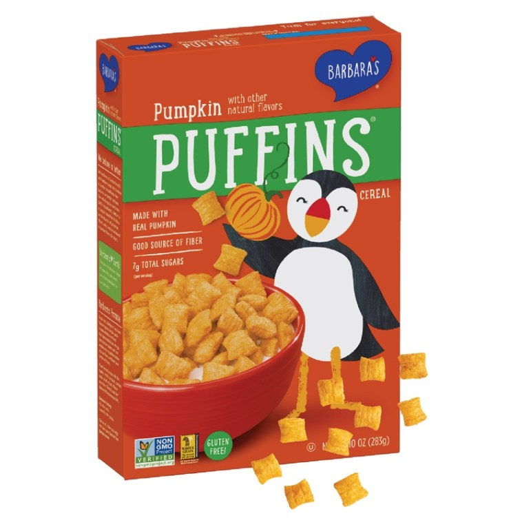 50 Dairy-Free Pumpkin Spice Sweets, Snacks, and More! Pictured: Barbara's Puffins Cereal