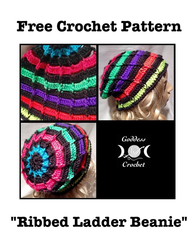 Free Crochet Pattern, Crochet hat pattern, striped beanie crochet pattern, goddess crochet