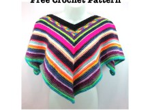 Free crochet pattern - Easy Peasy Poncho for Children