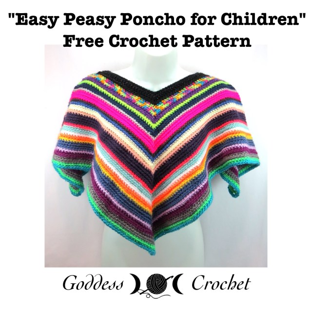Free crochet pattern, poncho crochet pattern, children's poncho crochet pattern