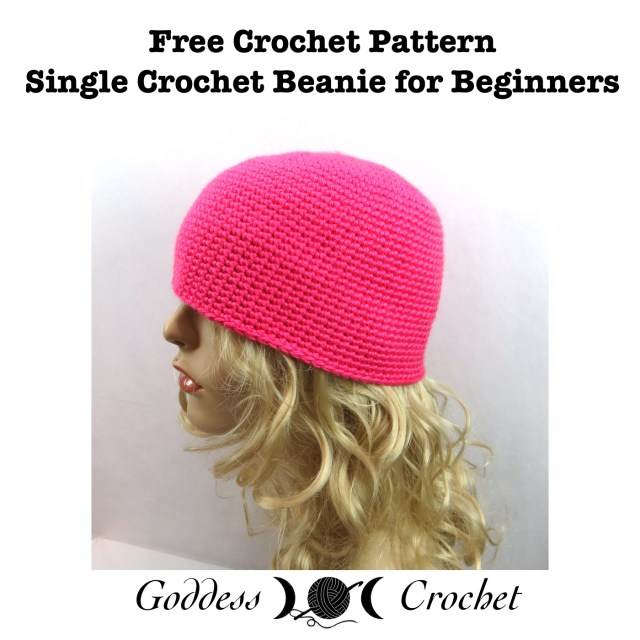 Free crochet pattern with video tutorial - Single crochet beanie for beginners