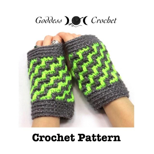 Crochet Pattern - Zig Zag Wristers Fingerless Gloves