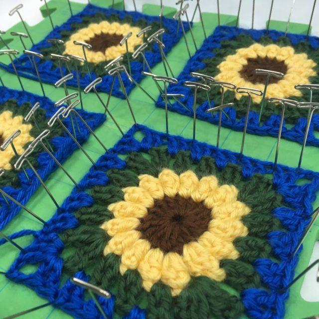 Blocking sunflower squares
