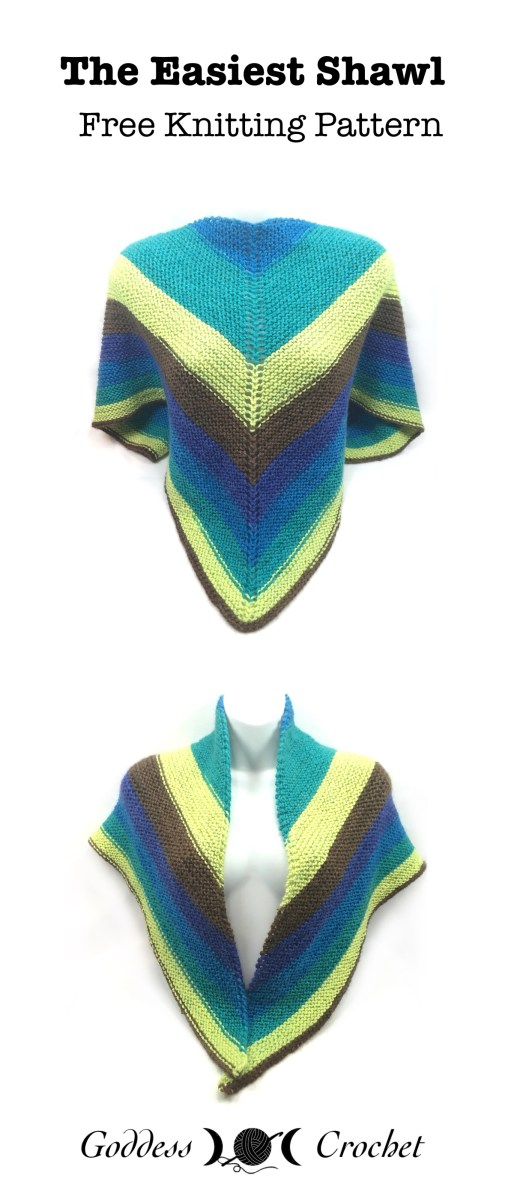The Easiest Shawl – Free Knitting Pattern – Goddess Crochet