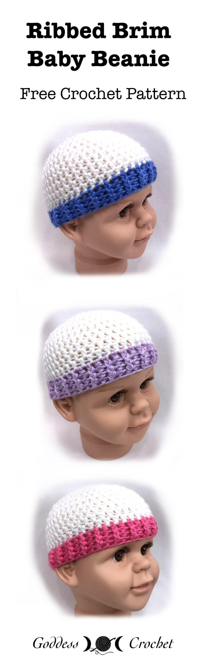 Ribbed Brim Baby Beanie Free Crochet Pattern Goddess Crochet
