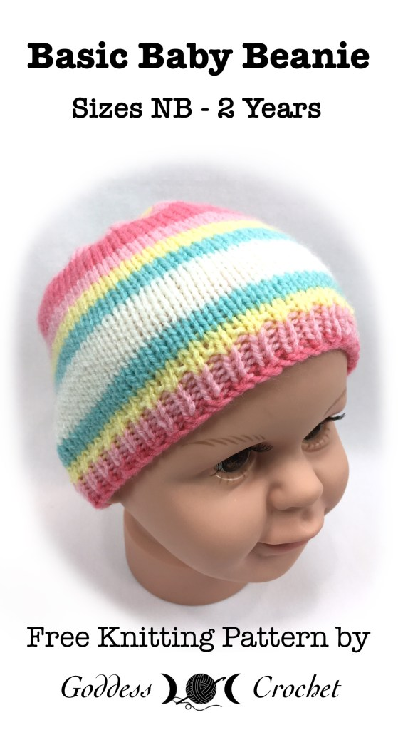 Basic Baby Beanie – Free Knitting Pattern – Goddess Crochet