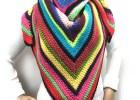 Scrappy Stripes Triangle Shawl - Free Crochet Pattern