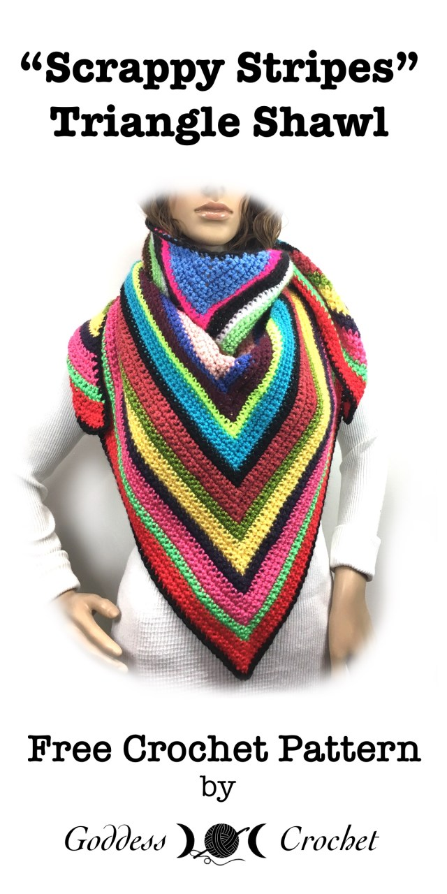 Scrappy Stripes Triangle Shawl - Free Crochet Pattern