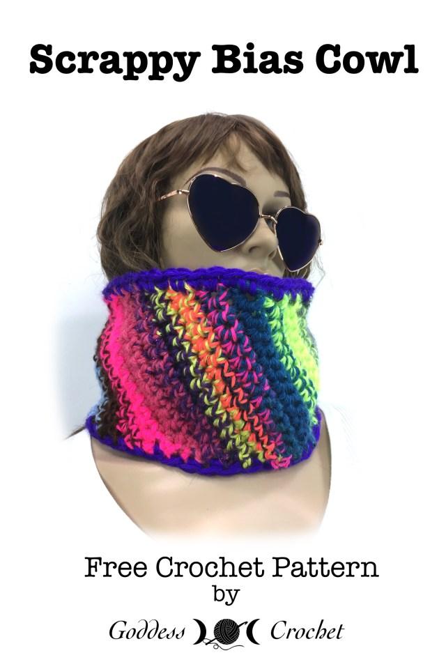 Scrappy Bias Cowl - Free Crochet Pattern