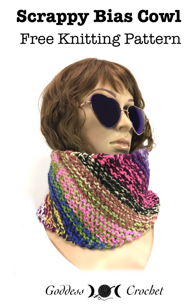 Scrappy Bias Cowl - Free Knitting Pattern