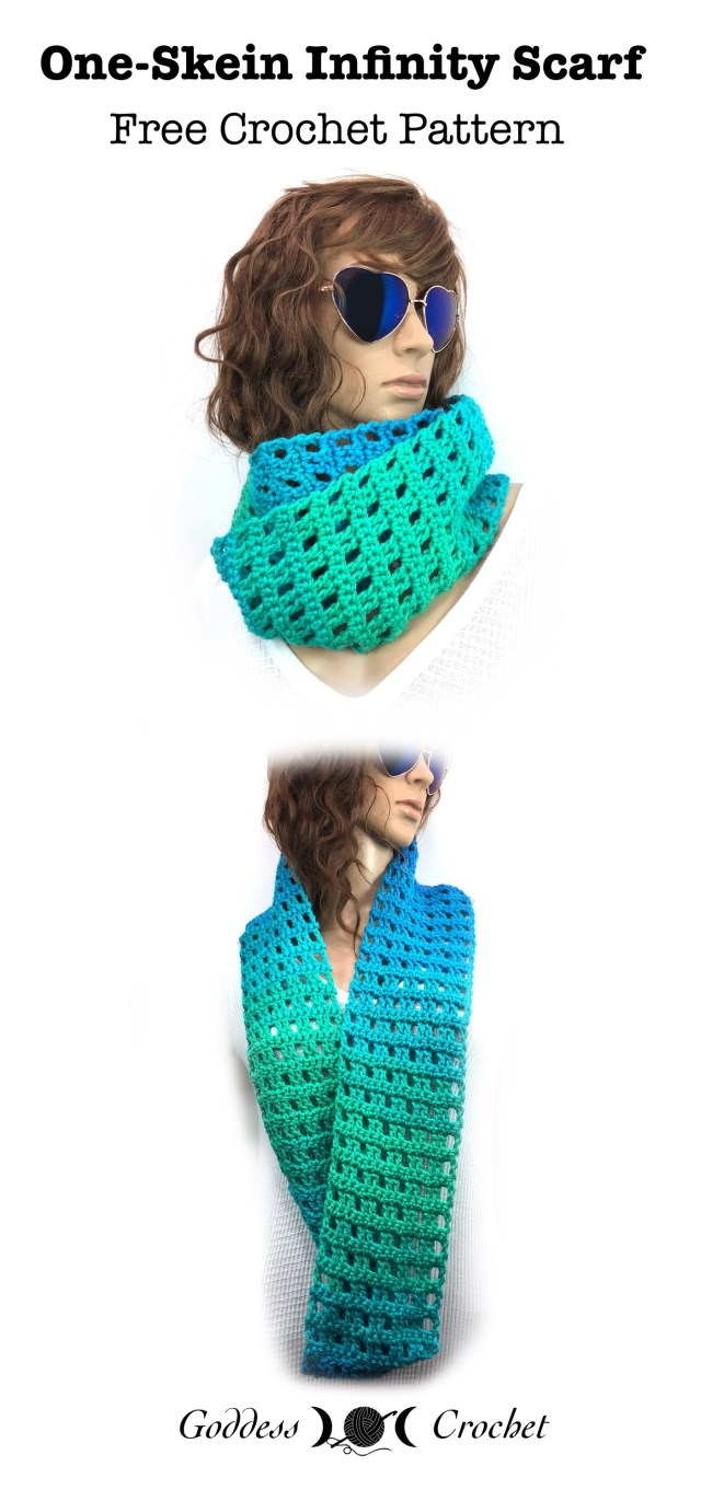 One Skein Infinity Scarf – Free Crochet Pattern – Goddess Crochet