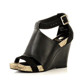BLACK SUEDE & LEATHER WEDGES by River Island £50