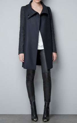 COAT WITH APPLIQUÉS ON THE SLEEVE  149.00 EUR 75%  wool at Zara