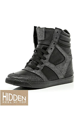 Black high top trainer with hidden wedge £40 at River Island