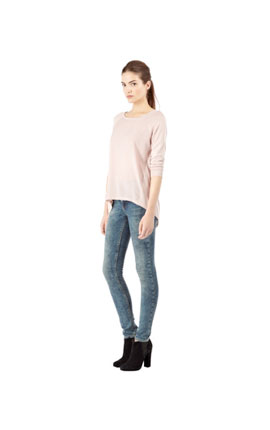 Woven back knit jumper in pink €48 at Warehouse and www.warehouse.co.uk