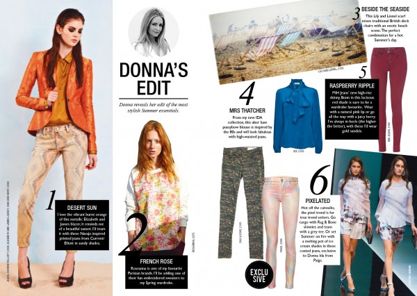 Donna's edit includes the best buys for the season – Chose from looks involving printed jeans to a rose printed sweat shirt or a tailored leather jacket.