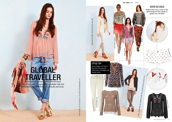 This theme hints at travel to exotic climes where the living is easy. The shapes to look out for here are Tunics, Kaftans in soft drape fabrics. Combine with shorts for beach wear or tailored jeans for evening or city dressing.